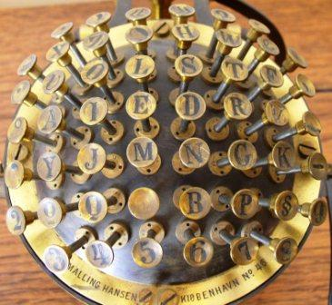 A Hansen writing ball - a keyboard invented by Rasmus Malling-Hansen in 1865