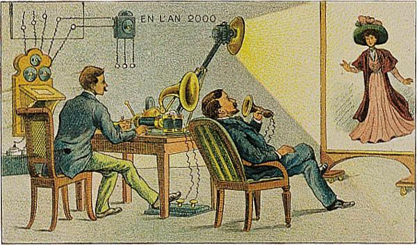 Postcard from 1900 showing how people in the year 2000 will communicate using audio and projected video