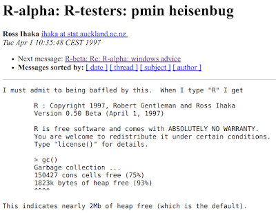 Subject: R-alpha: R-testers: pmin heisenbug From: Ross Ihaka <ihaka at stat.auckland.ac.nz> When: Tue Apr 1 10:35:48 CEST 1997