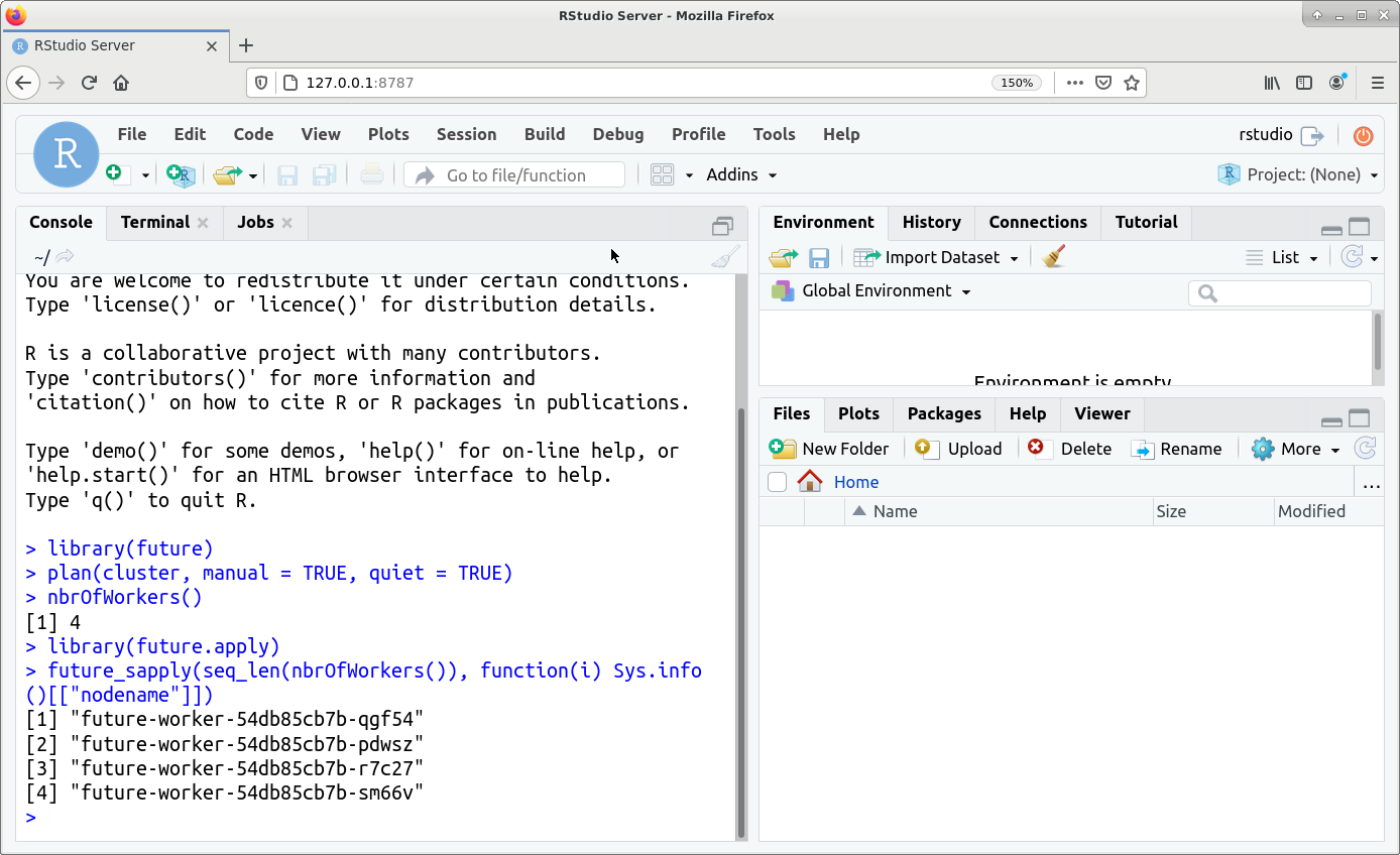 RStudio interface, demonstrating use of future commands
